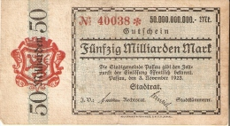 BILLETE DE ALEMANIA DE 50 MILLIARDEN MARK DEL AÑO 1923   (BANKNOTE) - 50 Milliarden Mark