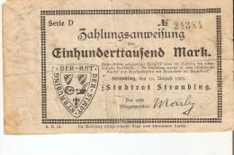 BILLETE DE ALEMANIA DE 100000 MARK DEL AÑO 1923   (BANKNOTE) STRAUBING - [ 3] 1918-1933 : República De Weimar