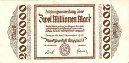 BILLETE DE ALEMANIA DE 2 MILLIONEN MARK DEL AÑO 1923   (BANKNOTE) - [ 3] 1918-1933 : República De Weimar