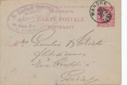 487/23 - ARMURERIE LIEGEOISE - Entier Postal WANDRE 1887 - Cachet Lochet Hubran Fabricant De Canons De Fusils à JUPILLE - Shooting (Weapons)