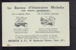 """PUBLICITE - """" Michelin & Cie """" à Paris Carte De Demande D'itinéraire Michelin / 2 Volets - Werbepostkarten"""