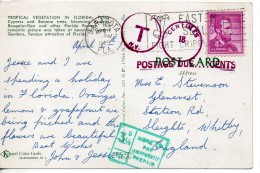 1967 United States USA Taxed Postcard (Florida Cypress Gardens ) Saratosa Sent To UK 2scans - Storia Postale