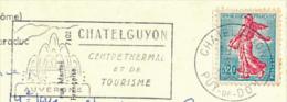 * Flamme CHATELGUYON, CHATEL-GUYON (1966) Centre Thermal Et De Tourisme Sur Carte Postale Entière (2 Scans) - Marcophilie (Lettres)