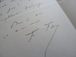 Frederic FEBVRE (1833-1916) Acteur COMEDIE FRANCAISE - Autographe - Autographs