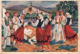 EN PARCOURANT LE PAYS BASQUE / RECORRIENDO EL PAIS VASCO - ARKU DANTZA / DANS DES ARCEAUX - Illustrateur : HOMUALK - Biarritz
