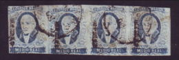 MEXICO 1856 1/2 R DEEP BLUE STRIP USED - Mexico