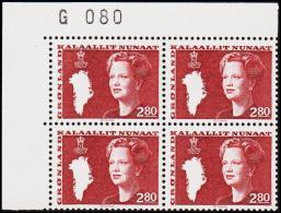 1985. Queen Margrethe. 2,80 Kr. Brownred 4-Block. G 080. (Michel: 155) - JF175215 - Zonder Classificatie