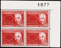 1963. Niels Bohr. 35 Øre 4-Block. 1877. (Michel: 62) - JF175050 - Zonder Classificatie