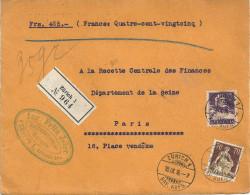 R Wertbriefvs   Zürich - Paris          1916 - Gebraucht
