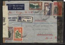 CEYLON GV1 1943 CENSORED COVER TO USA - Ceylon (...-1947)