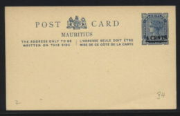 MAURITIUS 4c QUEEN VICTORIA POSTAL STATIONERY CARD - Unclassified
