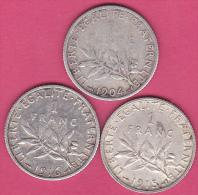 3 Pièces  1 FRANC SEMEUSE  1904 1915  1916 . ARGENT - France