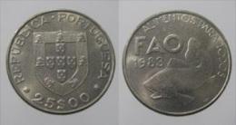 """PORTUGAL  25 Escudos 1.983  Cu Ni  KM#619   """"F.A.O.""""  UNC/SC  T-DL-11.350 - Portugal"""