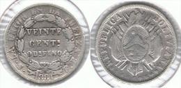 BOLIVIA 20 CENTAVOS BOLIVIANO 1881 POTOSI PLATA SILVER - Bolivia