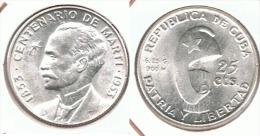 CUBA 25 CENTAVOS MARTI 1953 PLATA SILVER BONITA E1 - Cuba