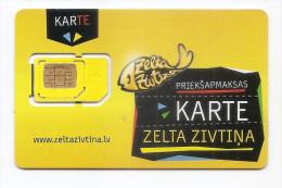 LATVIA GSM-GOLD FISH - MODEL 2014 / 2015 - SMALL CHIP  (LOT - 129 SARK) - Latvia