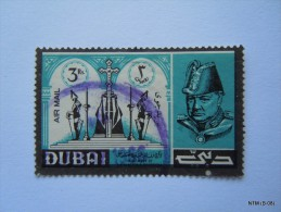 UAE - Dubai, Year 1966. SG 144. Winston Churchil, Air Mail Used Stamp Of 3 Rs. - Dubai