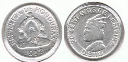 HONDURAS 20 CENTAVOS LEMPIRA 1952 PLATA SILVER - Honduras