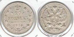 RUSIA IMPERIO 20 COPEK 1915 PLATA SILVER PLATA SILVER PRECIOSA SIN CIRCULAR - Russia