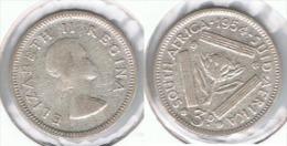 SUDAFRICA SOUTH AFRICA 3 PENCE 1954 PLATA SILVER E1 - Sudáfrica