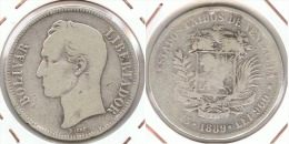 VENEZUELA 5 BOLIVAR 1889 PLATA SILVER E1 - Venezuela