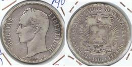VENEZUELA 5 BOLIVAR 1901 PLATA SILVER E1 - Venezuela
