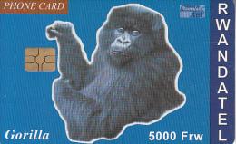 RWANDA - Gorilla, First Chip Issue 5000 Frw, Used