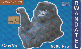 RWANDA - Gorilla, First Chip Issue 5000 Frw, Used - Rwanda