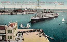 BARCELONA 1920? - Puerto, Estacion Maritima II, Liegada Del Trasatlantico Principessa Mafalda, Alte Karte Mit ... - Barcelona