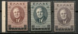GREECE 1945 SET FRANKLIN D. ROOSEVELT UNUSED -CAG 230615 - Grèce