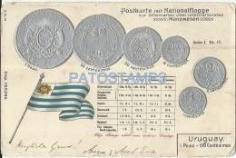 11608 URUGUAY ART EMBOSSED FLAG BANDERA & COIN POSTAL POSTCARD - Uruguay