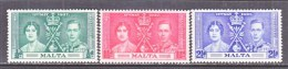MALTA  188-90     **  CORONATION - Malta (...-1964)