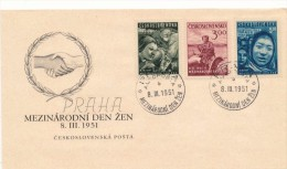 Czechoslovakia / First Day Cover (1951/04) Praha Autoposta (b): International Women´s Day (engineering, Agriculture) - Berufe