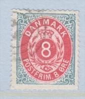 DENMARK  28      Perf.  14 X  13 1/2  (o)   ON  THIN  PAPER - 1864-04 (Christian IX)
