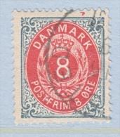 DENMARK  28 C      Perf.  14 X  13 1/2  (o)   INVERT.  FRAME - 1864-04 (Christian IX)