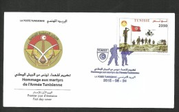 2015-Tunisia/Honour To The Martyrs Of The Tunisian Army- Helicopter Flight- Flag-FDC - Militaria
