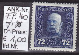 """1.7.1917  -  Feldpost II  """"Kaiser Franz Josef""""  -  ** postfrisch   - siehe Scan  (F.P. 40)"""