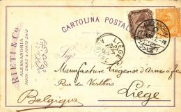 499/23 - ARMURERIE LIEGEOISE - Carte Privée ALEXANDRIE Egypte 1906 Vers La Manufacture Liégeoise D´ Armes à Feu - Shooting (Weapons)