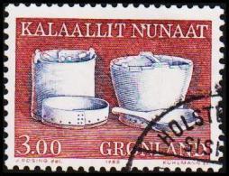 1988. Ethnographical Designs Series III. 3,00 Kr. Rødbrun Bøtter Og Kar (Michel: 186) - JF175320 - Groenlandia
