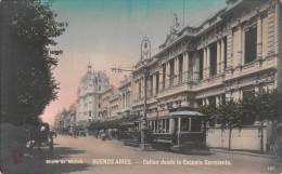 """03572 """"BUENOS AIRES - CALLAO DESDE LA ESCUELA SARMIENTO"""". ANIMATA, TRAMWAY.  CART. ILLUSTR.  ORIGINALE.  NON SPEDITA - Argentina"""