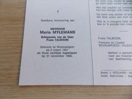 Doodsprentje Maria Mylemans Wommelgem 2/3/1921 - 21/11/1996 ( Frans Talboom ) - Religion & Esotérisme
