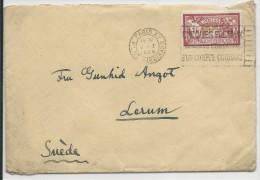 1926 - MERSON 1F SEUL Sur ENVELOPPE à DESTINATION De LERUM (SUEDE) - Storia Postale