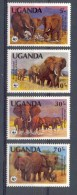 Mkt004s WWF FAUNA OLIFANTEN DIKHUIDEN ZOOGDIEREN AFRICAN ELEPHANTS MAMMALS ELEFANTEN UGANDA 1983 PF/MNH - W.W.F.