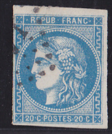France N°46B - 20c Bleu - Report 2 - Oblitéré - TB - 1870 Bordeaux Printing