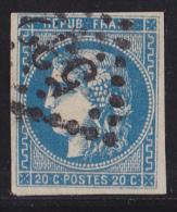 France N°46B - 20c Bleu - Report 2 - Oblitéré - TB - 1870 Emission De Bordeaux