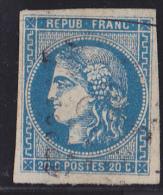 France N°46B - 20c Bleu - Report 2 - Oblitéré - TB - 1870 Emissione Di Bordeaux