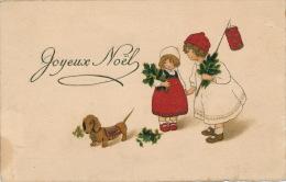 """ENFANTS - LITTLE GIRL - DOG - Jolie Carte Fantaisie Fillettes Avec Chien De """"Joyeux Noël"""" - Ohne Zuordnung"""