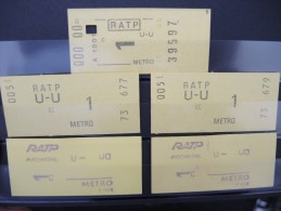 FRANCE-Lot De Tickets De Métro De Paris-A étudier P6947 - Subway