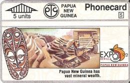 TARJETA DE PAPUA Y NUEVA GUINEA DE EXPO SEVILLA 92 DE LA MINERIA (209C) (NUEVA-MINT) - Papua New Guinea
