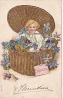 CPA Enfant Dans Une Grande Panière En Osier Rempli De Fleurs, Portant Une étiquette Express - Gaufrée - Enfants